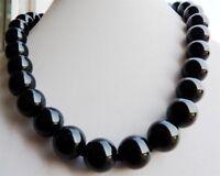 Beautiful 10mm Black Agate Onyx Gemstone Round Necklace 18'' AAA