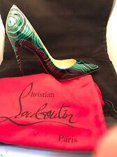 NIB Christian Louboutin So Kate 120 Green Black Malachite Patent Heel Pump 36