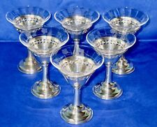 BIRKS Sterling Silver Clear Etched Glass Champagne Glasses Antique Set of 6