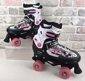 Action Quad Roller Skates  Adjustable  Pink Black & White UK Size 4-7 EU 37-40
