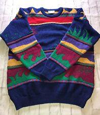 Vintage Zig Zag Designer Knitwear Multicolored Wool Sweater Made In Scotland Xl