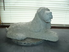 Cocker Spaniel Lying Down Dog Garden Statue Gray Cement Painted White