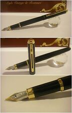 stilografica Regal British Ritz Black Fountain Pen - Stylo Flute Nib Rhodium M/f