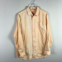 Tommy Bahama Relax Mens 100% Linen Button Down Shirt Size M Orange Long Sleeve