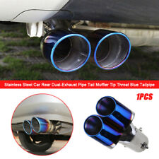 Stainless Steel Car Rear Dual Exhaust Pipe Tail Muffler Tip Throat Blue Tailpipe