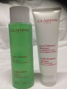 Clarins Gentle Foaming Cleanser with Cottonseed / toning lotion set - New