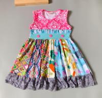 NEW Girls Boutique Pink Multi-Print Sleeveless Ruffle Dress