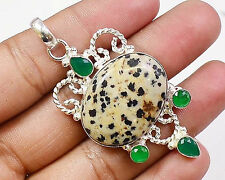 925 Sterling Silver Overlay Natural Dalmation Green Onyx Pendant