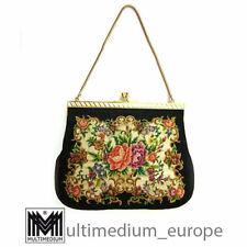 needlework Hand Tasche Theatertasche Abendtasche Petit Point Stickerei 50er 60er