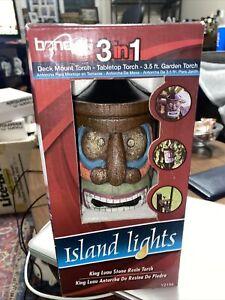 Bond Island Lights King Luau Stone Resin Garden Torch or Tabletop or Deck Mount