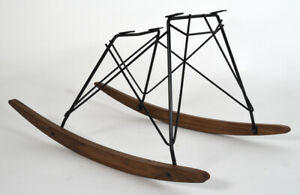 Real Walnut Rocker Black Frame Chair Base for Vintage Herman Miller Eames Shell