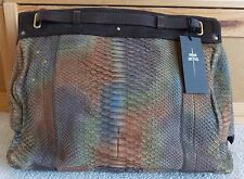 NWT Jerome Dreyfuss carlos hand-painted python leather tote handbag *LIMITED*