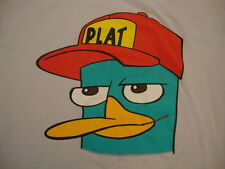 Disney Phineas & And Ferb Plat Hat Funny Cartoon TV Show Print T Shirt M