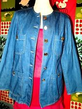MANOUKIAN VESTE TRENDY CHIC DENIM LEGER 3/4 BOUTONS OR  42