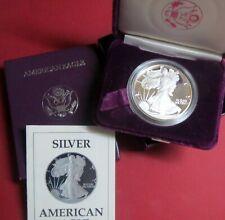 "> 1987-s  PROOF AMERICAN SILVER EAGLE DOLLAR, ""BU"" San Francisco MINT w/ COA"