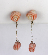 Vintage Carved Angleskin Coral Dangle Earrings 14k Yellow Gold Screw Backs