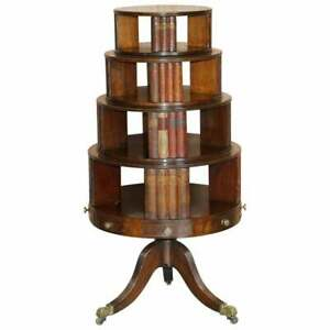 RESTORED REGENCY CIRCA 1810 REVOLVING MAHOGANY LIBRARY BOOKCASE WITH FAUX BOOKS