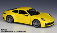 Welly 1:24 Porsche 911 Carrera 4S Yellow Diecast Model Sports Racing Car NIB