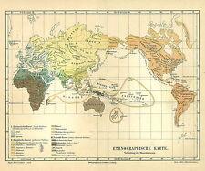 Alte Landkarte 1890: Ethnographische Karte. Verbreitung der Menschenrassen (M4)