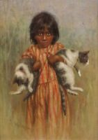 """perfect 24x36 oil painting handpainted on canvas""""a little girl and two cats""""4441"""