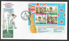 NEW ZEALAND 1992 HEALTH Sporting Heroes CRICKET RUGBY Souvenir Sheet FDC