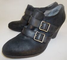 Audrey Brooke Womens Ankle Boots US 6.5 M Black Suede Buckle Heels Booties