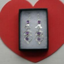 Beautiful 925 Silver Earrings With Amethy Heart Shape 4.6 Gr  5 Cm.Long + Hooks