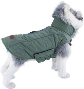 "Doglemi Green Quilted Warm Dog Coat - Reflective Trim Reversible XXL 18.5"" Long"