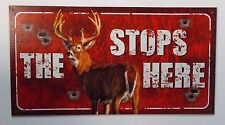 THE BUCK STOPS HERE - HUNTING - COLLECTIBLE TIN SIGN - METAL WALL DECOR