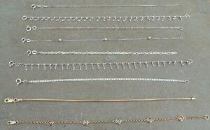 JOB LOT OF 9 STERLING SILVER OR GOLD OVER SILVER BRACELETS HALLMARKS
