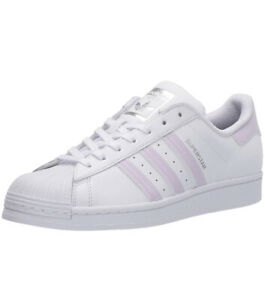 "Women Adidas Superstar Lace Up ""Shell Toe"" Sneaker Shoe White/Purple Tint FV3374"