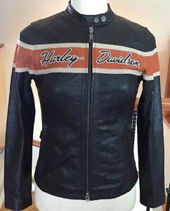 HARLEY DAVIDSON Women's MEDIUM Black Leather Racing Jacket in VG Condition