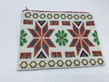 Native American All Hand Beaded Zipper Purse With Suede Lining