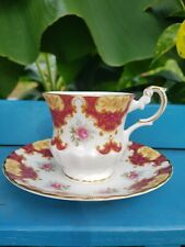 Rosina Teacup and Saucer Red Pattern with Pink Roses and Gold Trim