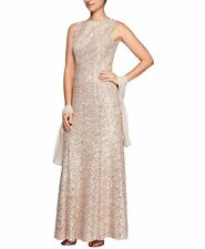 $450 ALEX EVENINGS WOMENS BEIGE SEQUINED LACE SLEEVELESS HIGH-NECK DRESS SIZE 8
