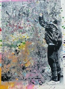 Mr. Brainwash The Wall (Keith Haring)Unique Mixed media Original HAND SIGNED 1/1