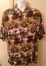 LIGO Men's XL Hawaiian Camp Aloha SS shirt brown surfing hibiscus floral rayon