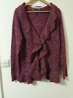 Karen Scott Waterfall Chunky Knit Style Cardigan Pink Size L