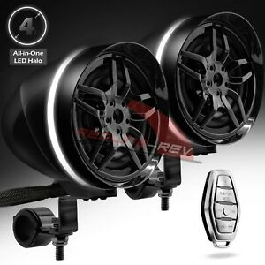Waterproof Bluetooth Motorcycle Stereo LED Halo Speaker Audio System ATV USB AUX