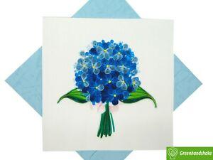 Hydrangea Bouquet Quilling Greeting Card - Unique Dedicated Handmade Art