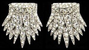 Antique ART DECO c1920 Sterling Silver Faux Diamond Paste Pair Dress Clips