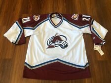 NWT Vintage Colorado Avalanche Peter Forsberg White Air Knit CCM XL Jersey
