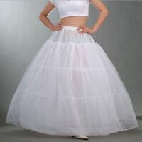 New White Cloth 3 Hoop Petticoat Bridal Wedding Dress Crinoline Underskirt  US