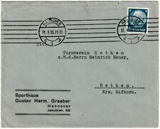 Briefumschlag Sporthaus Gustav Herm Graeber Hannover mit Stempel+Briefmarke 1933