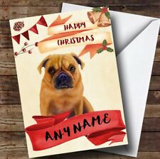 Watercolour Rustic Dog Pug Personalised Christmas Card