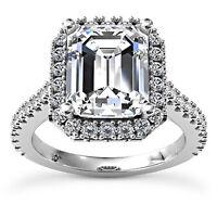 2 1/2 Emerald Cut I VS Diamond Solitaire Engagement Ring 14k White Gold