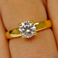 14KT Solid Yellow Gold 2.20Ct D/VVS1 Round Cut Solitaire Engagement Women's Ring