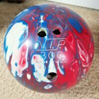 Vintage V.I.P. Ten Pin Bowling Ball 10lbs 5.4oz Red White Blue W/Light Blue Bag