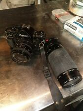 Canon A-1 35mm film camera with 52mm lens A1 & f=75-300mm 1:45 ~ 5.6 lens