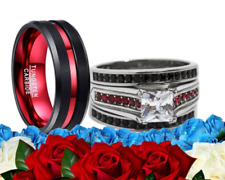 & Stainless Steel Engagement Wedding Ring Set His and Her Cz Red Black Tungsten